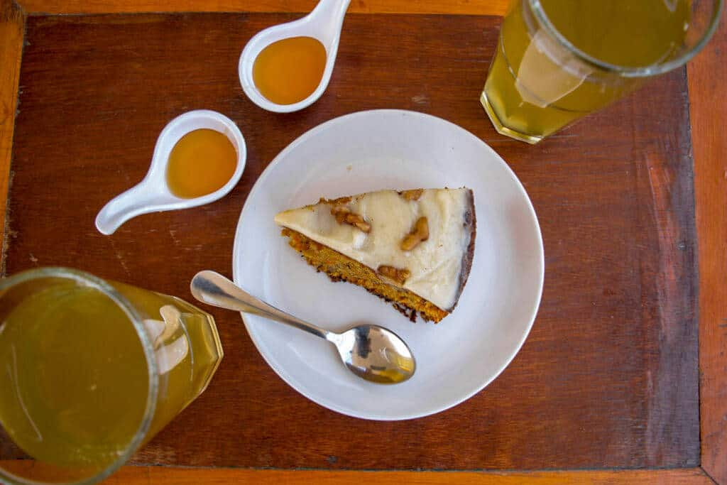 Walnut Cake and Ice Tea